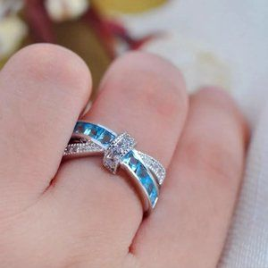 Size 10 Sterling Silver Aquamarine Ring